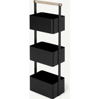 Huldra Bathroom Shelves Storage Caddy, Black Metal & Wood