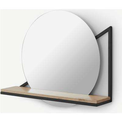 Huldra Wall Mounted Mirror with Shelf 46 x 55cm, Black Metal & Wood