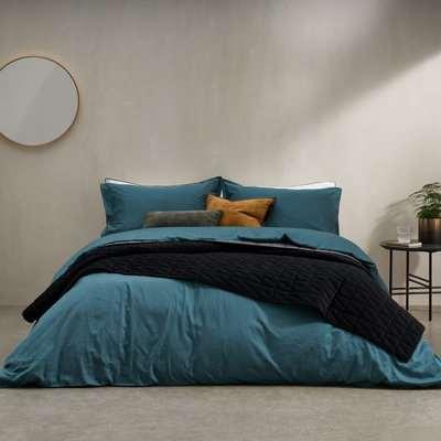 Hylia Washed Cotton Satin Duvet Cover + 2 Pillowcases, Super King, Dark Ochre