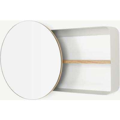 Joris Metal & Wood Round Mirror with Shelving Unit, Off White