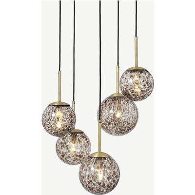 Julia 5 Light Chandelier Pendant, Tortoise shell Glass & Brass