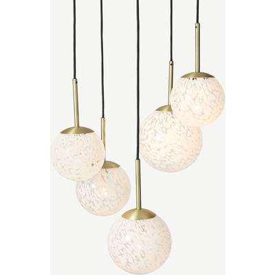 Julia 5 Light Chandelier Pendant, White Shell Glass & Brass
