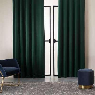 Julius Velvet Eyelet Lined Pair of Curtains, 168 x 228cm, Forest Green