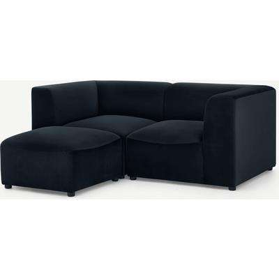 Juno 2 Seater Modular Sofa with Footstool, Twilight Blue Velvet