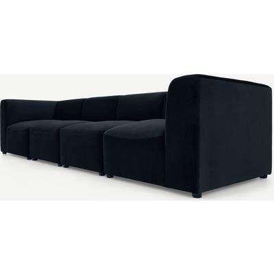 Juno 4 Seater Modular Sofa, Twilight Blue Velvet