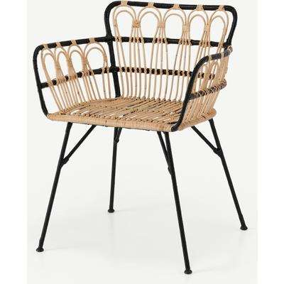 Jurupa Dining Chair, Natural Cane & Black