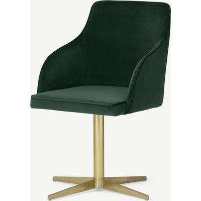 Keira Office Chair, Pine Green Velvet & Brass