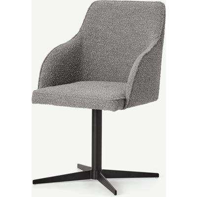 Keira Office Chair, Steel Boucle & Black