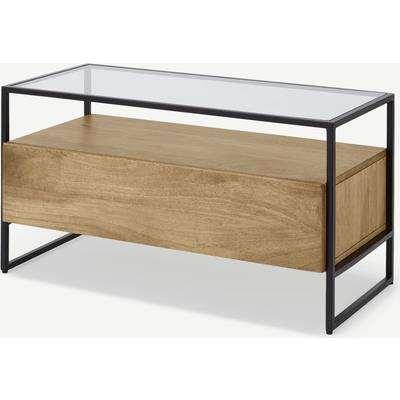 Kilby Compact TV Stand, Light Mango Wood and Glass