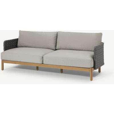 Kolbe Garden 3 Seater Sofa, Grey & Acacia Weave