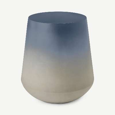 Kugel Garden Side Table, Blue Concrete