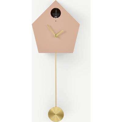 Lark Cuckoo Clock, Blush Pink & Brass