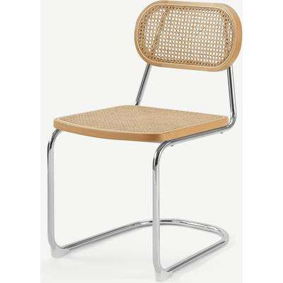 Leora Dining Chair, Cane & Chrome