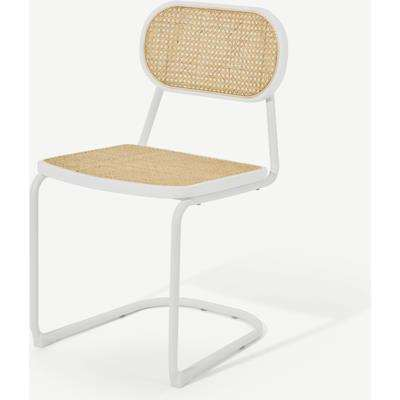 Leora Dining Chair, Cane & Ivory White