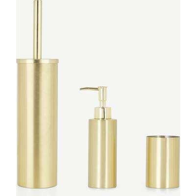 Lilo Toilet Brush, Soap Dispenser & Tumbler Set, Brushed Brass