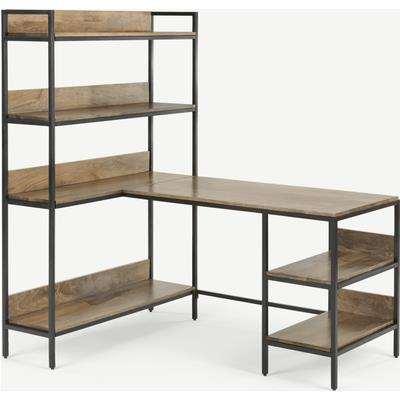 Lomond Adjustable Corner Desk with Shelves, Mango Wood and Black