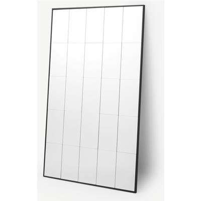 Ludlow Large Industrial Window Pane Leaner Mirror 160 x 100cm, Matt Black