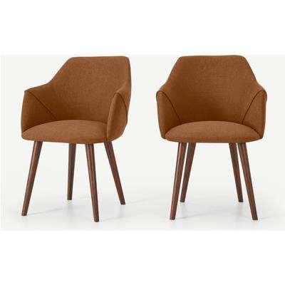 Lule Set of 2 Carver Dining Chairs, Dune Orange & Walnut Leg