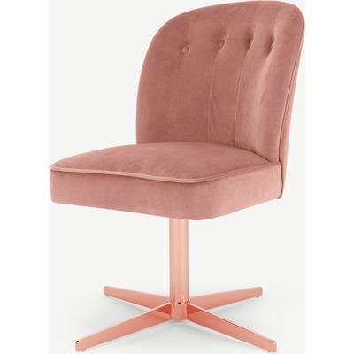 Margot Office Chair, Blush Pink Velvet and Copper