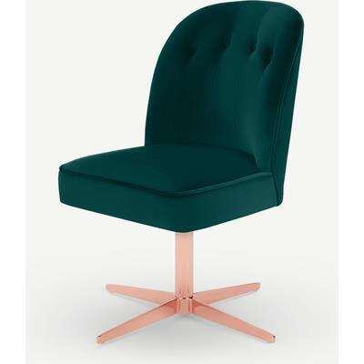 Margot Office Chair, Seafoam Blue Velvet & Copper
