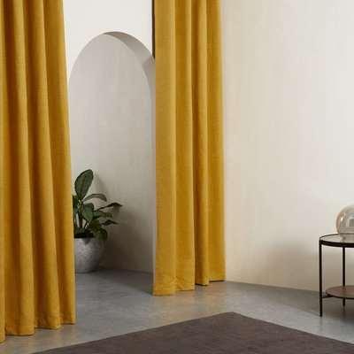 Marzia Pair of Curtains Eyelet 135 x 260cm, Dark Mustard