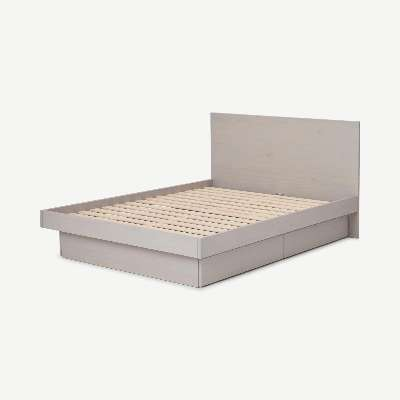 Meiko Double Bed with Storage Drawers, Grey Wash Pine