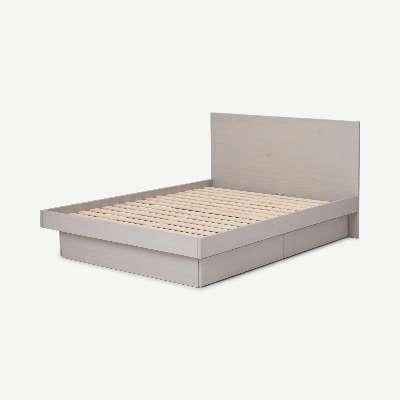 Meiko King Size Bed with Storage Drawers, Grey Wash Pine