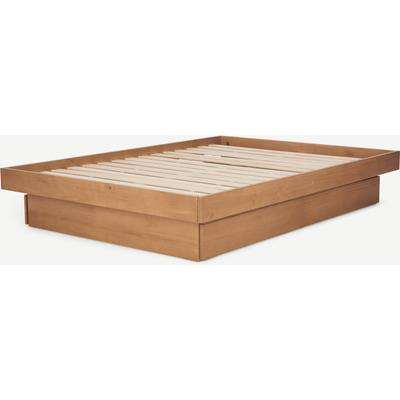 Meiko Super King Size Platform Bed with Drawers, Pine