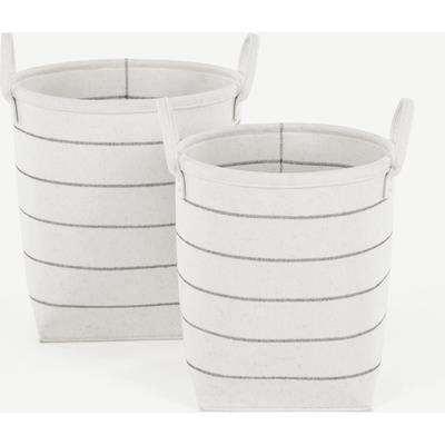 Millon Set of 2 Felt Stripe Laundry Baskets, Off White