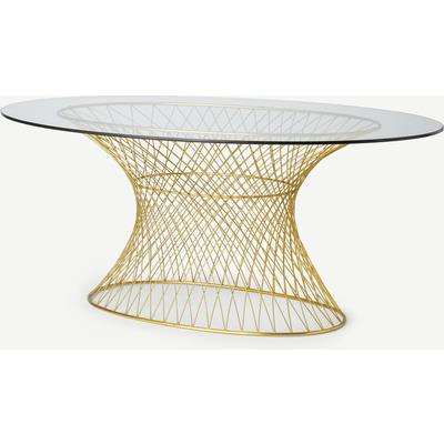 Mora 6 Seat Fixed Oval Dining Table, Glass & Brass