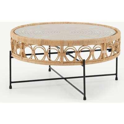Moreno Coffee Table, Natural Cane & Glass