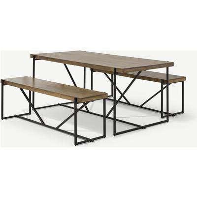 Morland Dining Table & Bench Set, Mango Wood