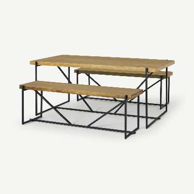 Morland Dining Table & Bench Set, Light Mango Wood