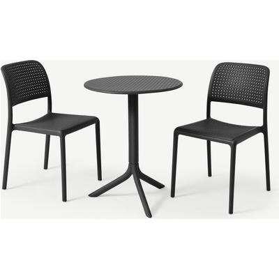 Nardi 2 Seat Bistro Set, Dark Grey Fibreglass & Resin