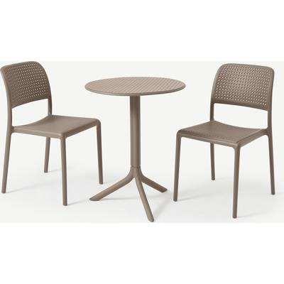 Nardi 2 Seat Bistro Set, Light Grey Fibreglass & Resin