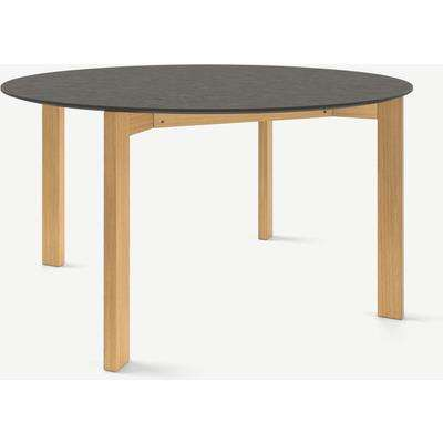 Niven 6 Seat Round Dining Table, Concrete & Oak