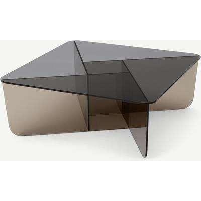 Oki Square Coffee Table, Smoked Grey & Amber Glass