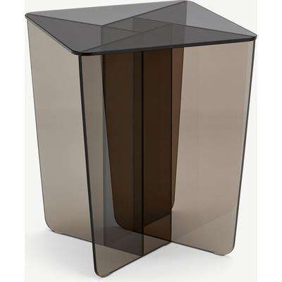 Oki Side Table, Smoked Grey & Amber Glass