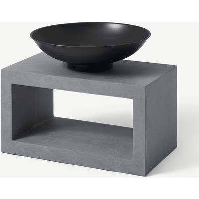Outdoor Fire Pit with Rectangular Base, Black & Cement