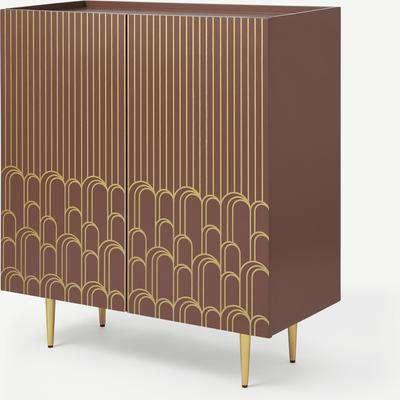Parvell Hallway Storage Cabinet, Burgundy & Gold