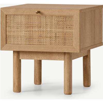 Pavia Bedside Table, Natural Rattan & Oak Effect