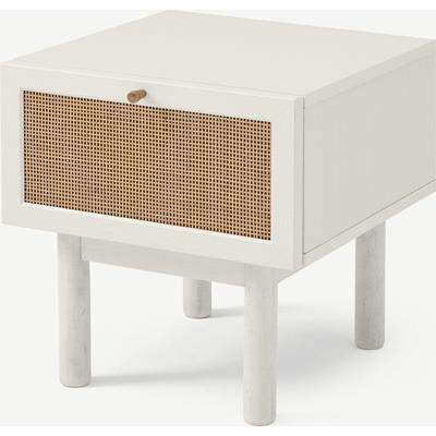 Pavia Bedside Table, Natural Rattan & White-Washed Oak Effect