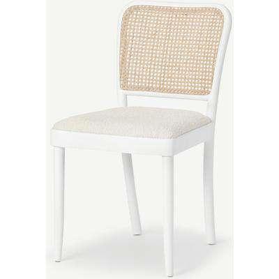 Raleigh Dining Chair, Whitewash Boucle & Rattan