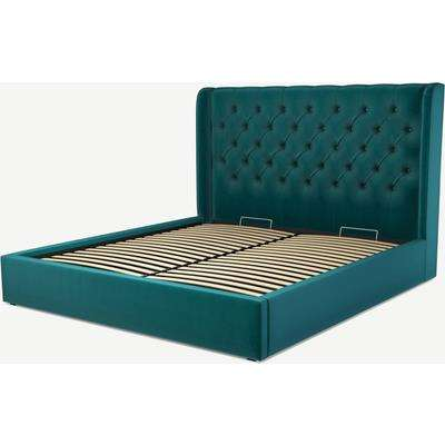 Romare Super King Size Ottoman Storage Bed, Tuscan Teal Velvet
