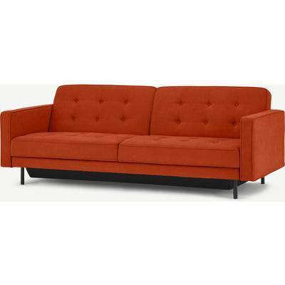 Rosslyn Click Clack Sofa Bed with Storage, Sedona Orange
