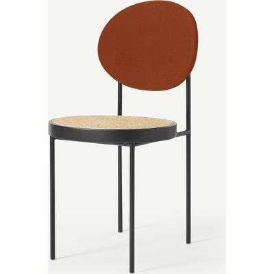 Rumana Dining Chair, Cane & Nutmeg Orange Velvet