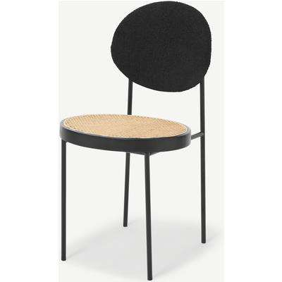 Rumana Dining Chair, Cane & Black Boucle