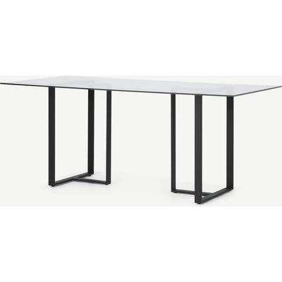 Saffie 6 Seat Dining Table, Black & Glass