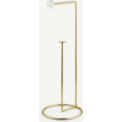 Sakari Marble Freestanding Toilet Roll Holder, Brass
