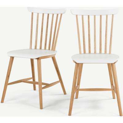 Set of 2 Deauville Dining Chairs, Oak and White